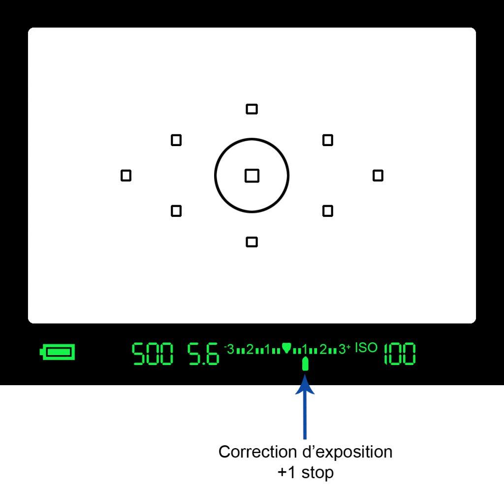 Correction d'exposition dans le viseur