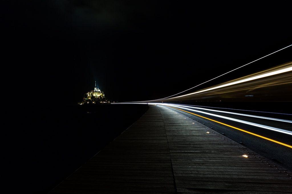 Pose longue de 54 secondes de nuit (Mont Saint-Michel)