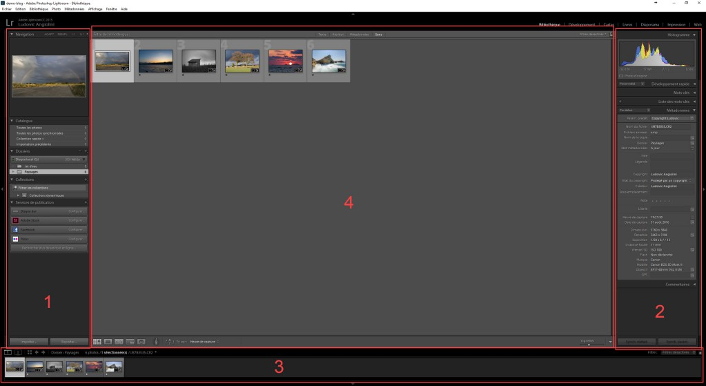 Menu Bibliothèque Adobe Lightroom comment c'est composé