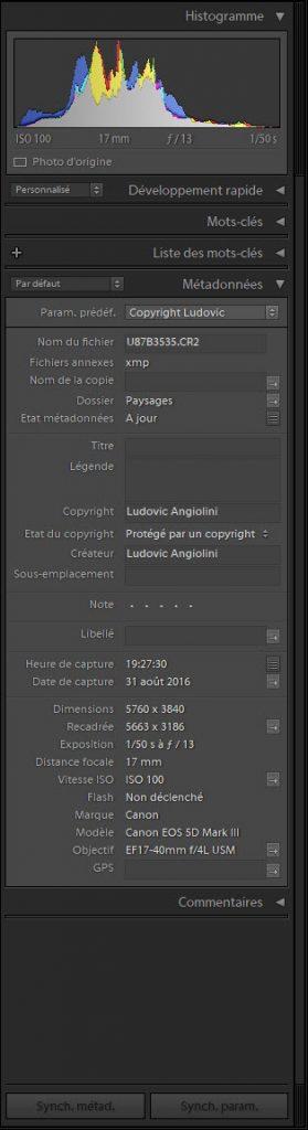 Colonne de droite Bibliothèque Adobe Lightroom