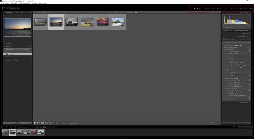 Menu navigation Adobe Lightroom