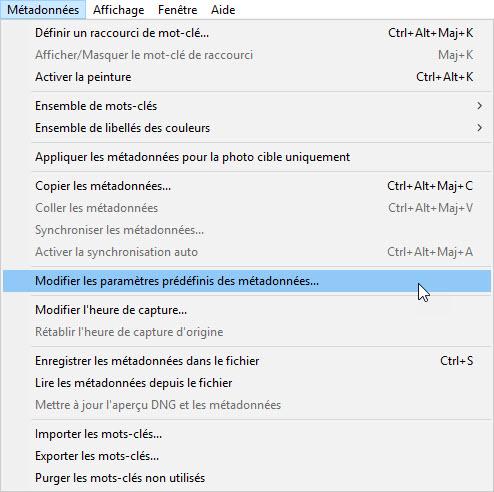 """Adobe Ligtroom menu """"Modifier les paramètres prédéfinis des métadonnées"""""""