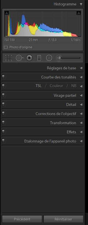 Colonne de droite du module développement Adobe Lightroom