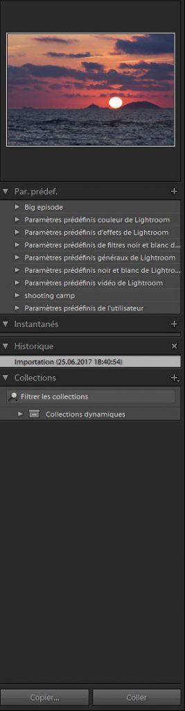 Colonne de gauche du module développement Adobe Lightroom