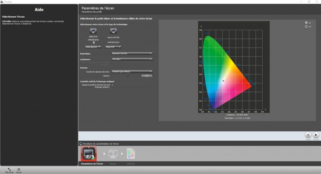 Calibration écran - i1profiler - Paramètres d'écran