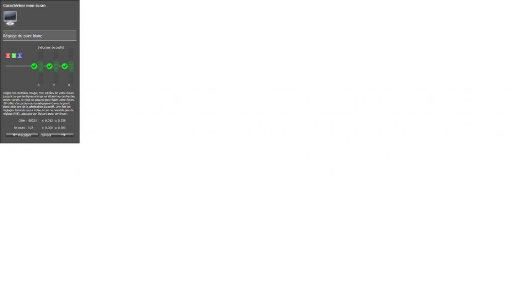 Calibration écran - i1profiler - Réglage du point blanc