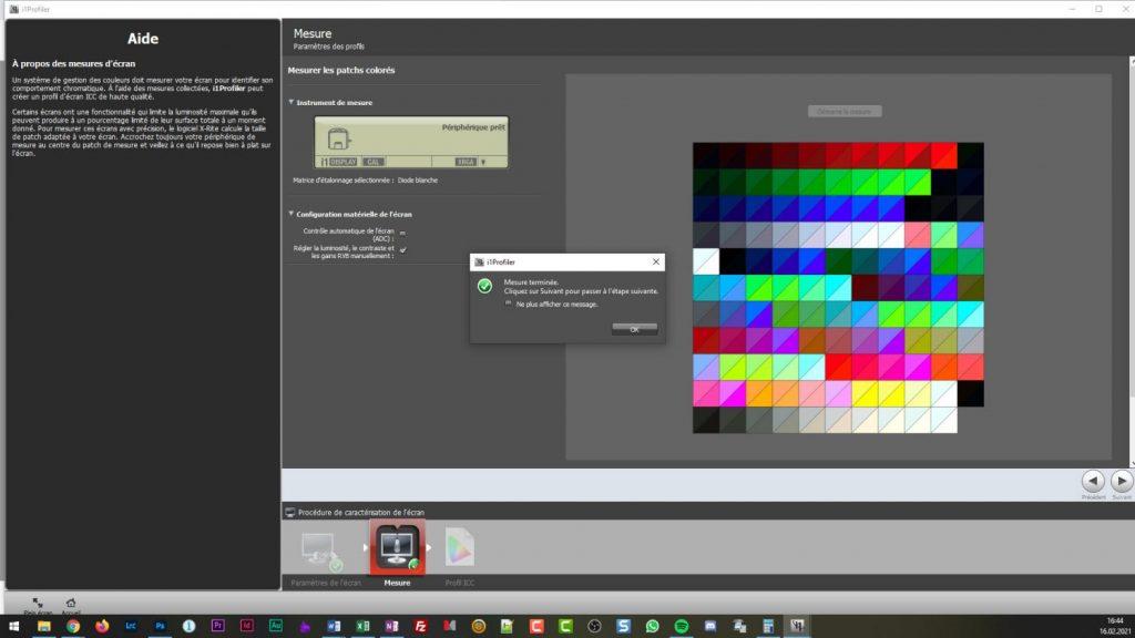 Calibration écran - i1profiler - Fin