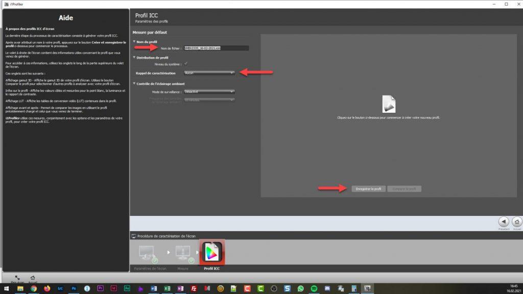 Calibration écran - i1profiler - Enregistrement profil